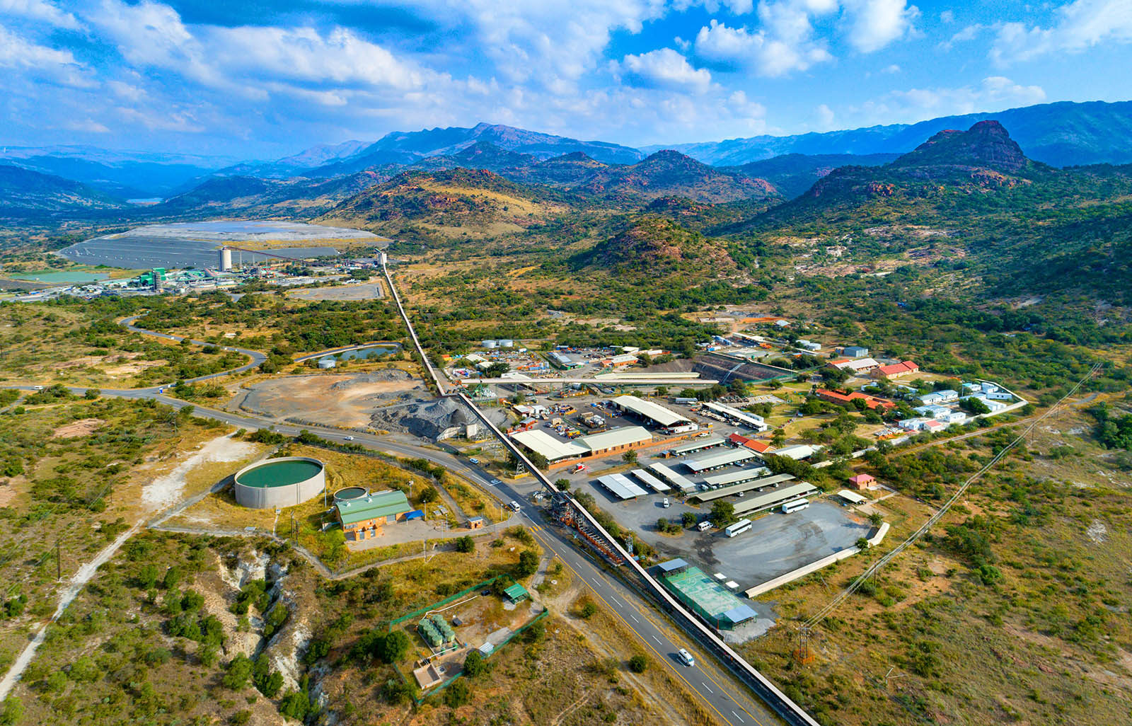 Aerial view of mine shafts and processing plant
