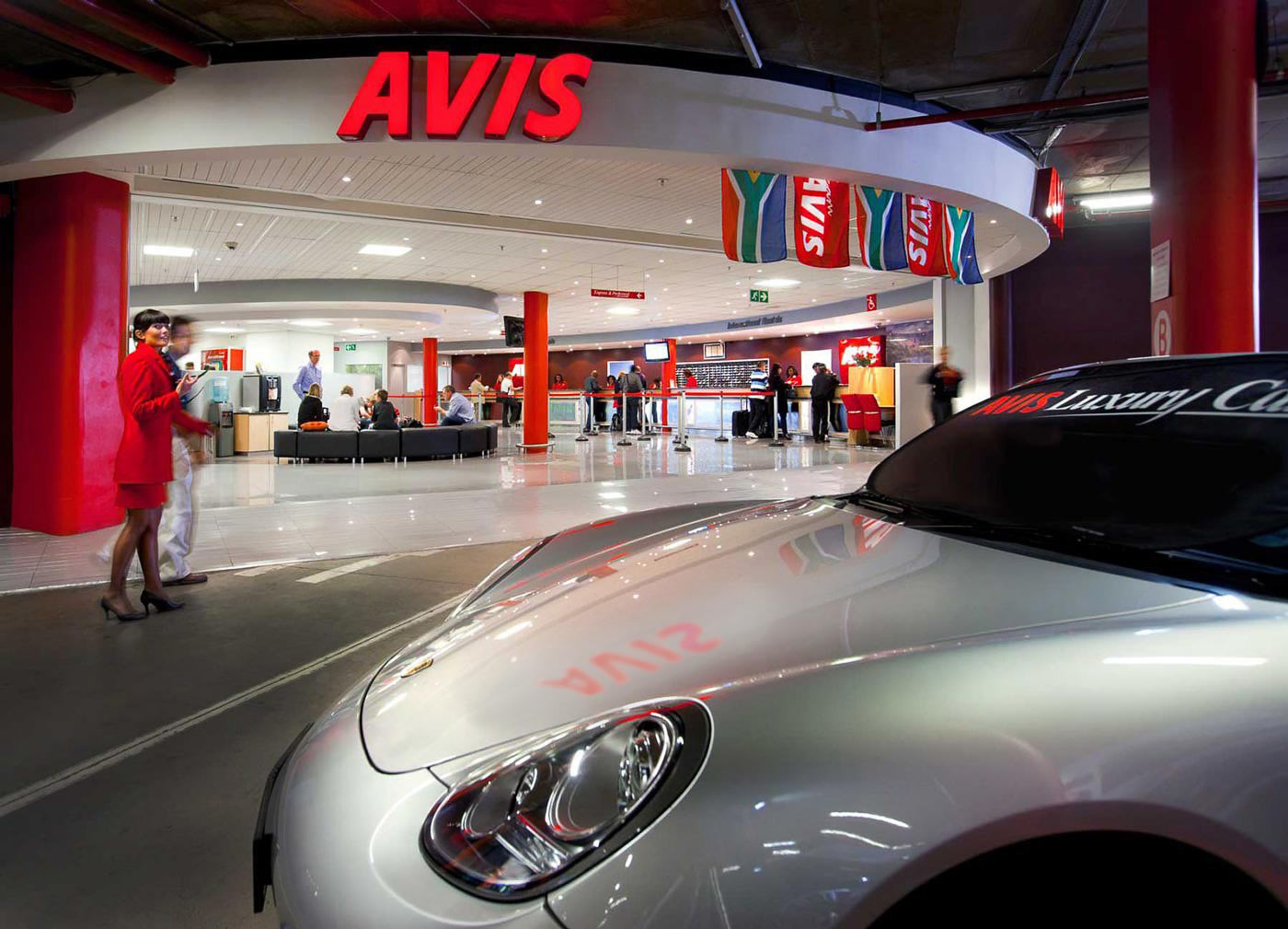 Avis car rental facility at OR Tambo airport - corporate and promotional photography collection