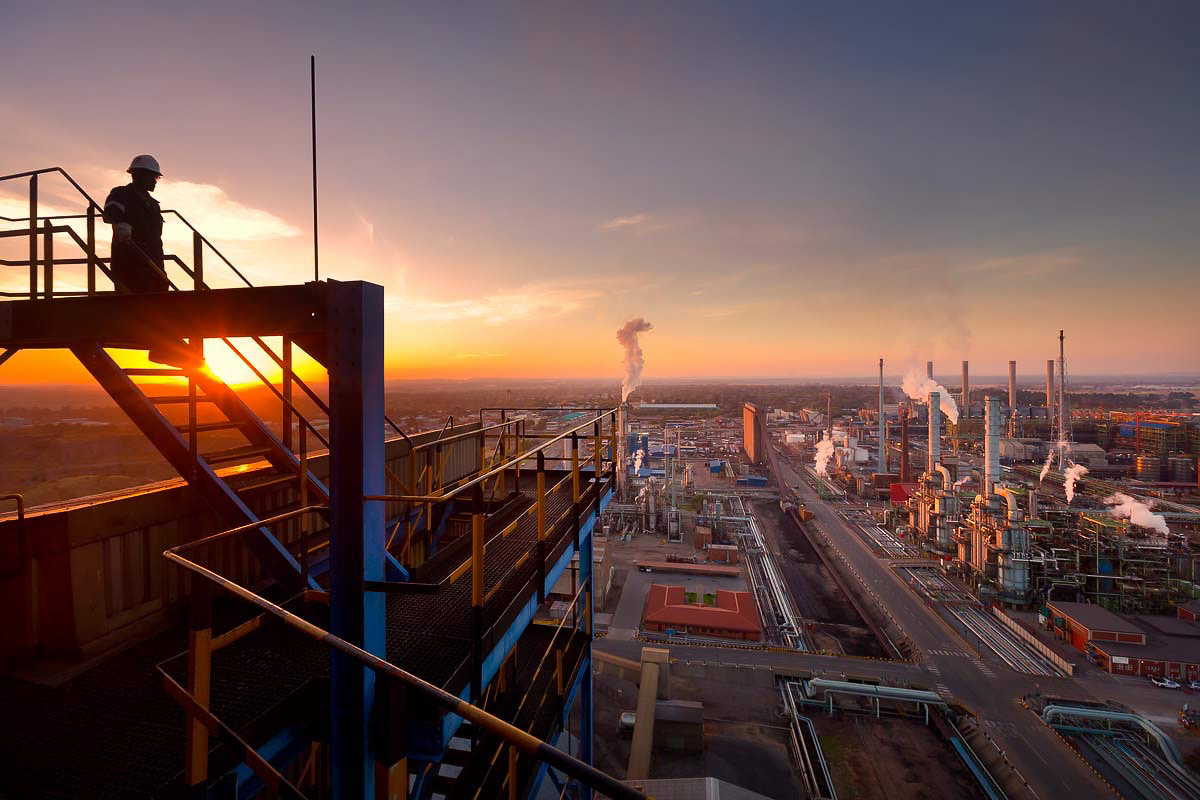 Chemicals plant in the sunset - chemical industries photographer