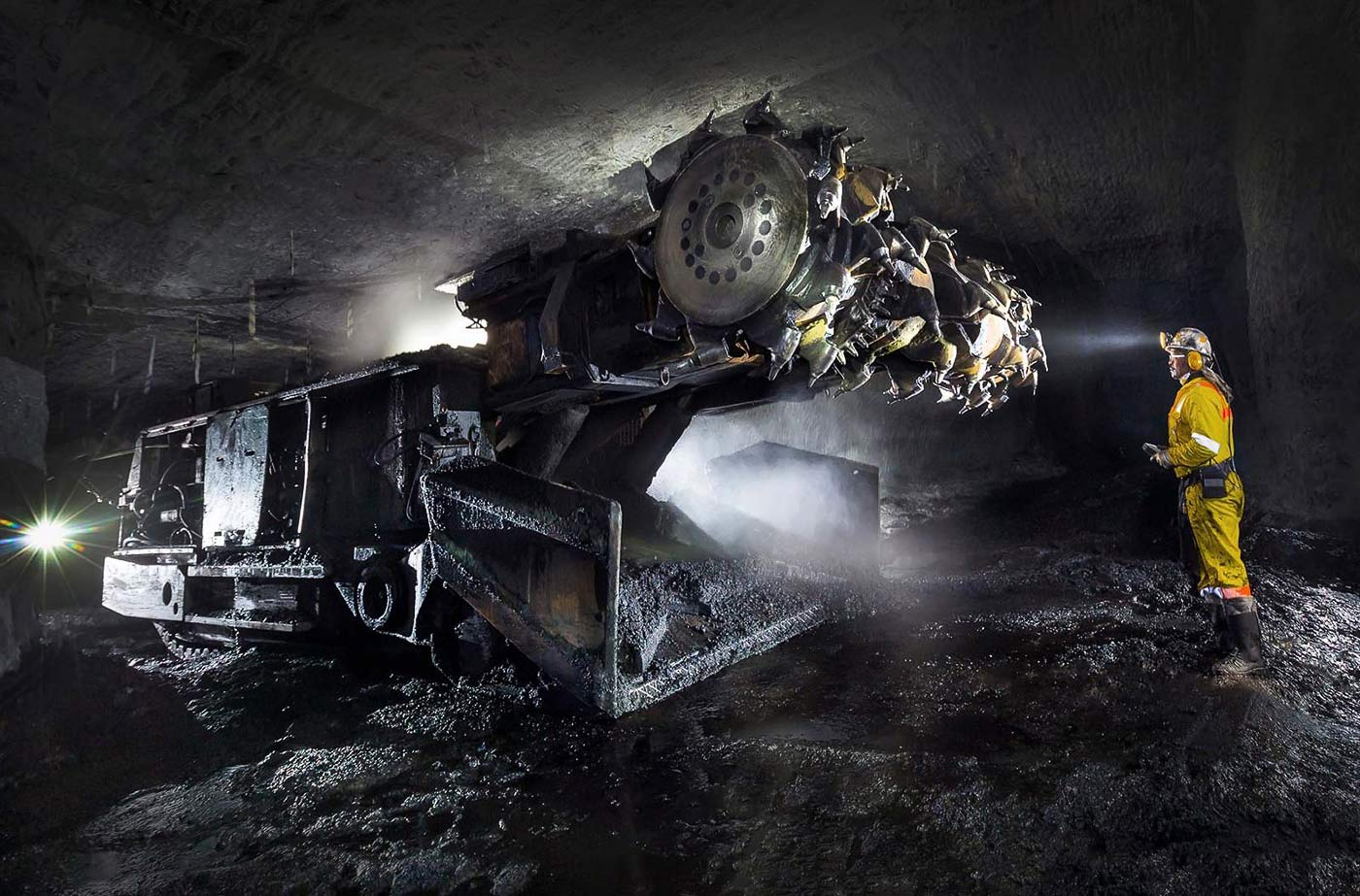 Continuous mining machine in a colliery - coal mining photography portfolio