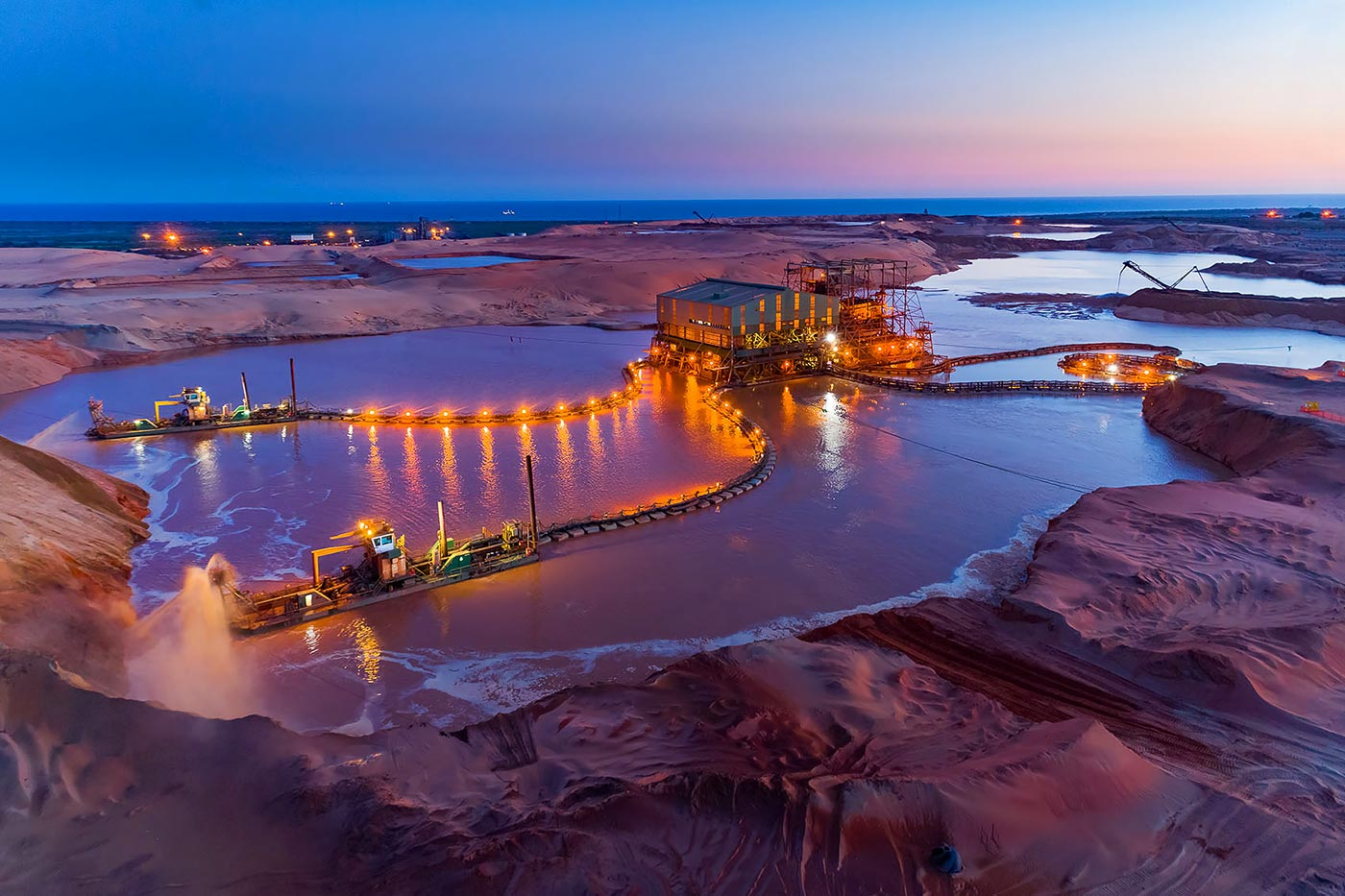 Aerial view mineral sands mining in Northern Mozambique - Aerial photographer Geoff Brown