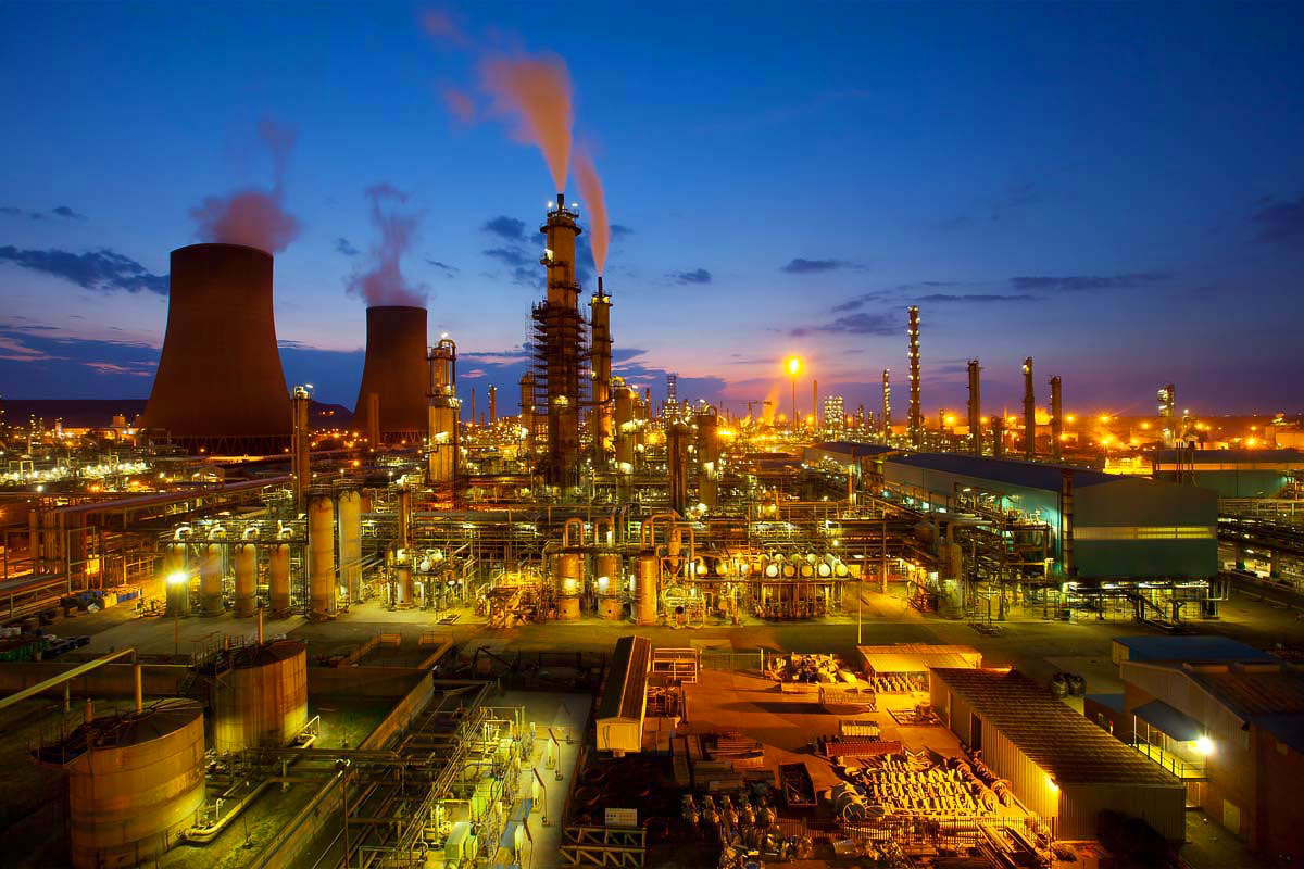 Oil and Gas industry plant chemicals at sunset - petrochemicals industry professional photography