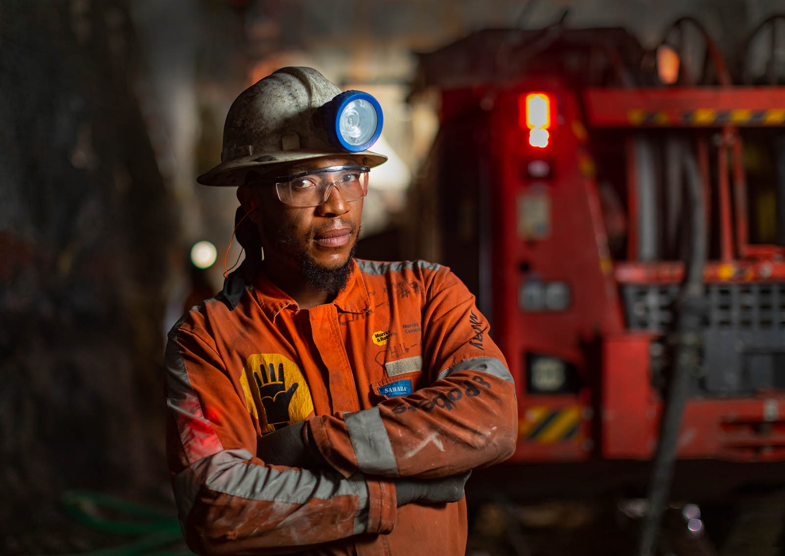 Platinum mine worker portrait by professional photographer Geoff Brown