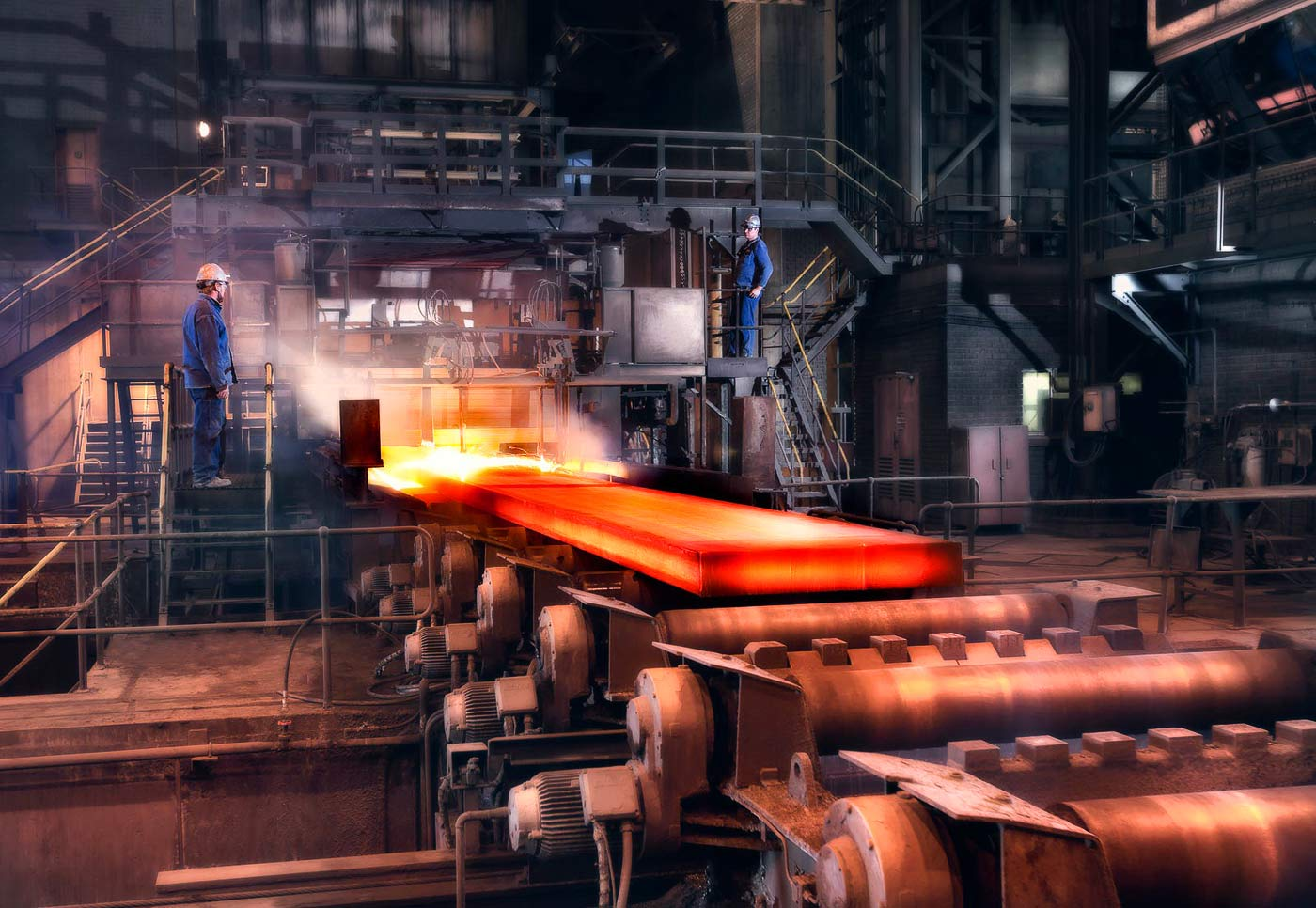 Stainless steel rolling mill taken by professional plant photographer