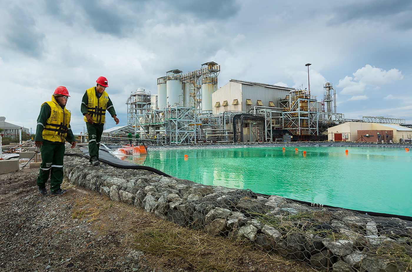 Sulphide pond at base metal refinery by professional photographer Geoff Brown